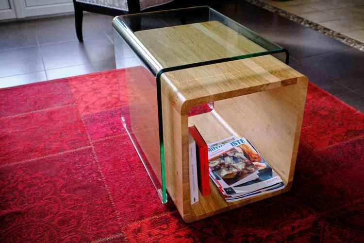 Table contemporaine asymétrique, extensible bois et verre