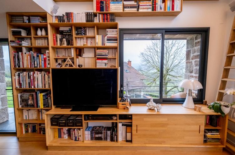 Meuble bibliothèque design en bois sur mesure